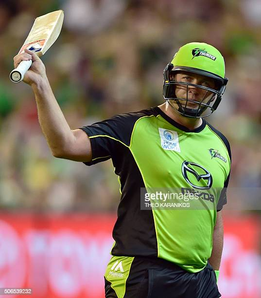 Sydney Thunder cricketer Jacques Kallis waves as he walks off after losing his wicket during the T20 Big Bash League cricket final between the...