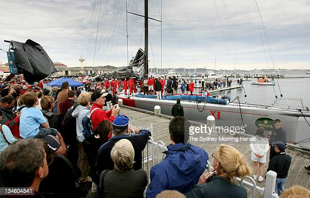 Sydney to Hobart 2007 Spectators greet the crew of super maxi Wild Oats XI at Constitution Dock in Hobart Tasmania after taking line honours in the...