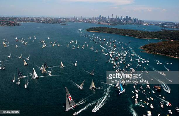Sydney to Hobart Yacht Race 2008 The fleet head towards the Sydney Heads with Wild Oats in front 26 December 2008