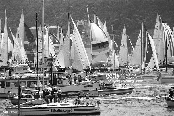 Sydney to Hobart yacht race contenders jockey for positions at the start of the race at Nielson Park Vaucluse 26 December 1984 SMH Picture by BRUCE...