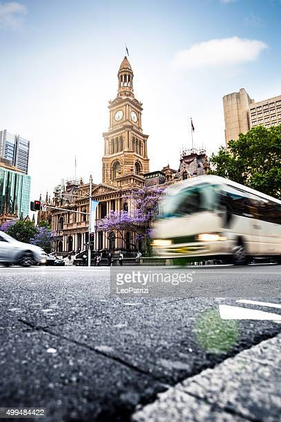 Sydney transportations. Bus in a crowded street in Town Hall