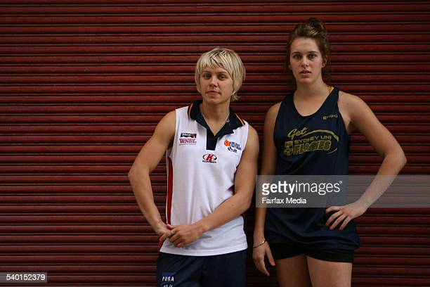 Sydney University Flames basketball player Mikaela Dombkins right and Erin Phillips from the WNBA side Connecticut Sun 25 November 2006 SHD SPORT...