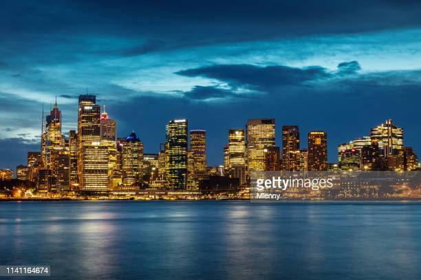 sydney urban skyline at night australia - sydney stock pictures, royalty-free photos & images