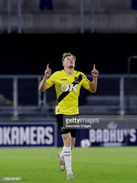Sydney van Hooijdonk of NAC Breda celebrate his goal 3-0 during the Dutch Keuken Kampioen Divisie match between NAC Breda v FC Volendam at the Rat...