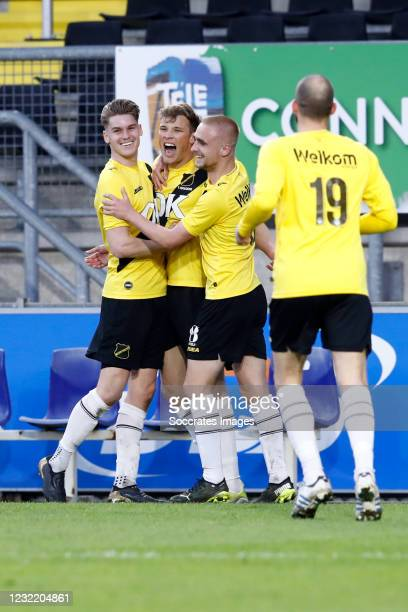 Sydney van Hooijdonk of NAC Breda celebrate his goal 3-1, Ramon Hendriks of NAC Breda, Lewis Fiorini of NAC Breda, Anco Jansen of NAC Breda during...