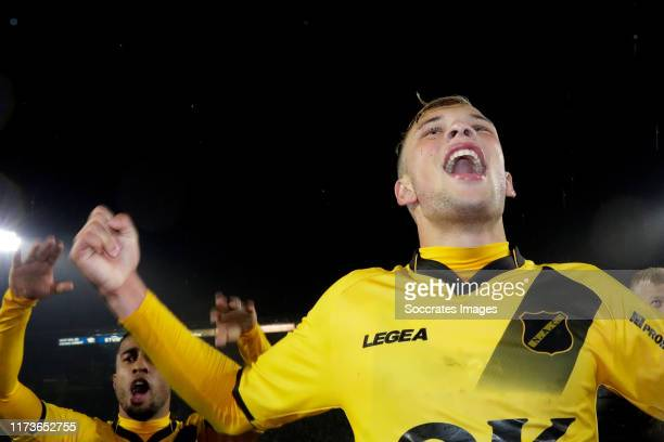 Sydney van Hooijdonk of NAC Breda celebrates the victory during the Dutch Keuken Kampioen Divisie match between NAC Breda v NEC Nijmegen at the Rat...