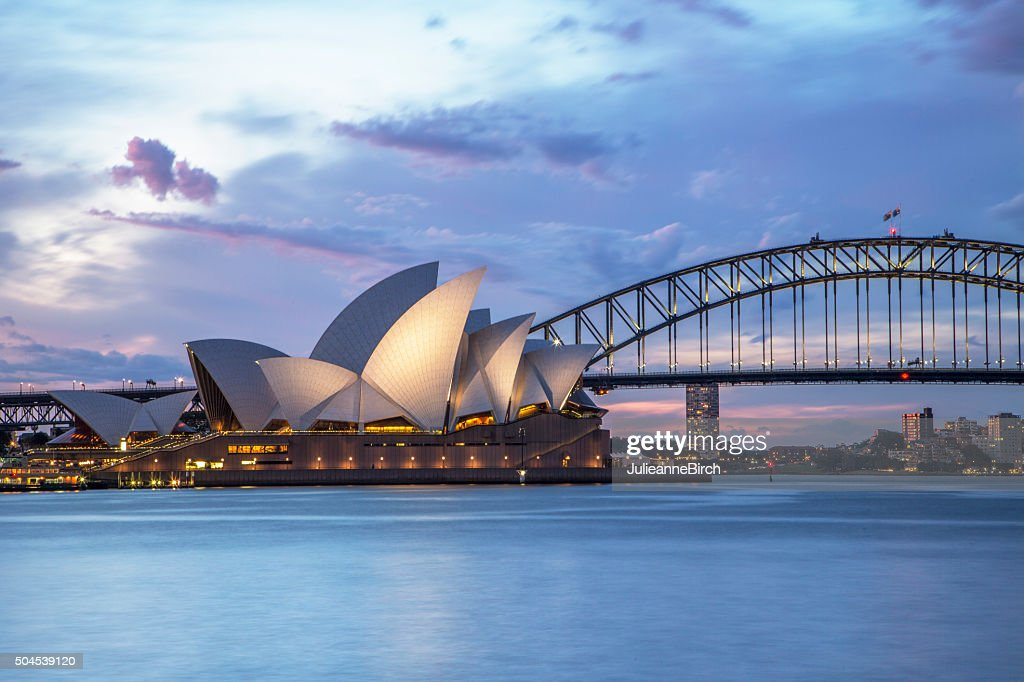 Sydney waterfront at night : Stock Photo
