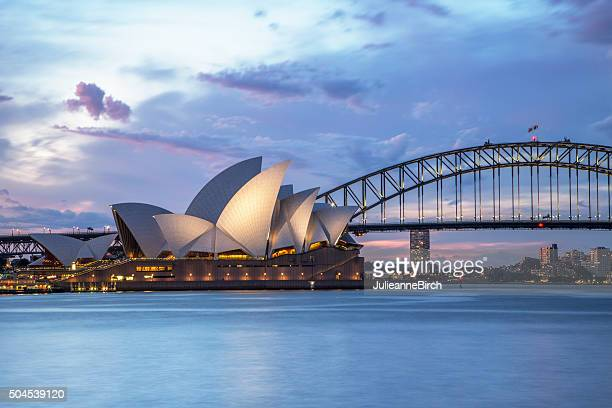 sydney waterfront at night - sydney stock pictures, royalty-free photos & images