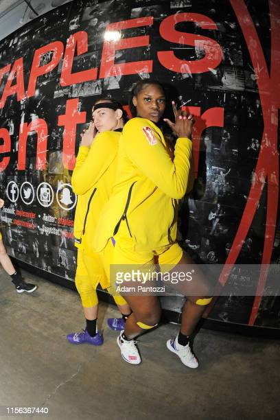 Sydney Wiese and Kalani Brown of the Los Angeles Sparks pose for a photograph before the game against the Dallas Wings on July 18 2019 at the Staples...