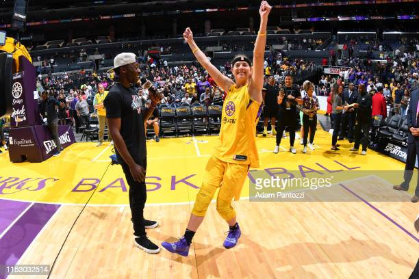 Sydney Wiese of the Los Angeles Sparks talks with the media after the game against the Chicago Sky on June 30 2019 at the Staples Center in Los...