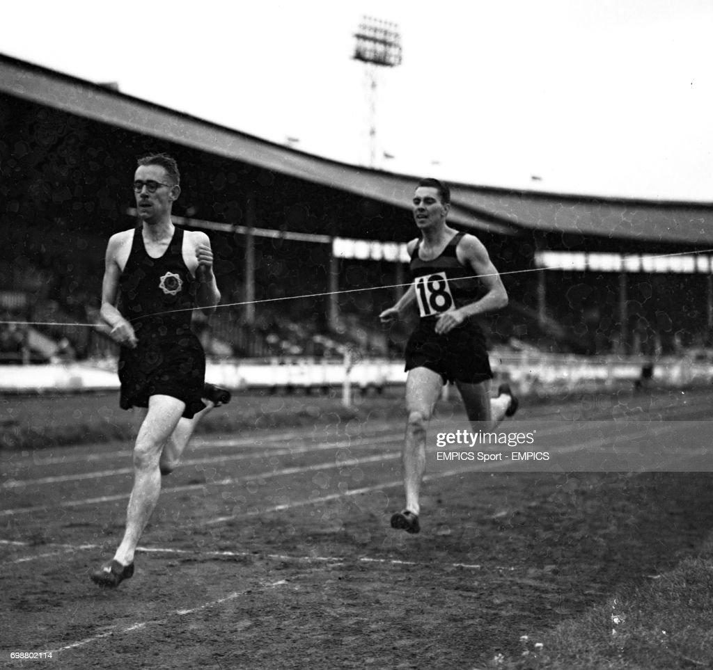 Sydney Wooderson (l) winning the mile race, with G.B. Pell second. Wooderson gained his fifth successive mile championship at the Amateur Athletic Association's meeting at the White City, London.