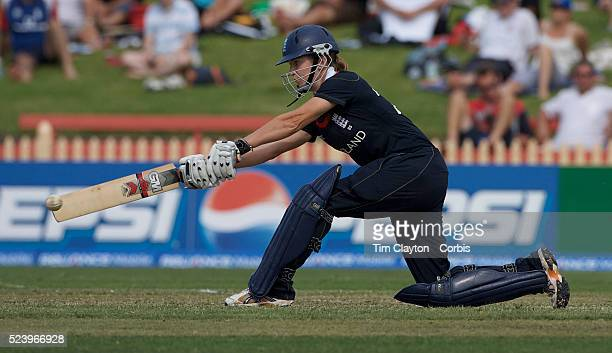 Beth Morgan batting during the ICC Women's World Cup Cricket final between New Zealand and England at North Sydney Oval Sydney Australia on March 22...