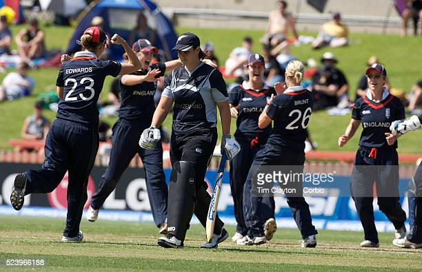 England celebrates the dismissal of Sarah Tsukigawa during the ICC Women's World Cup Cricket final between New Zealand and England at North Sydney...