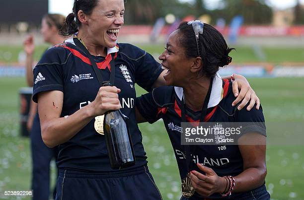 England players Caroline Atkins and team mate EbonyJewel RainsfordBrent celebrate after England's victory in the ICC Women's World Cup Cricket final...