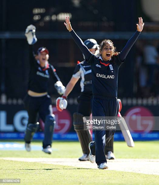 Isa Guha appeals for an LBW during the ICC Women's World Cup Cricket final between New Zealand and England at North Sydney Oval Sydney Australia on...