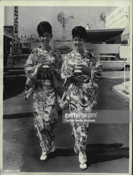 Sydneyborn Chinese twins Susan and Sue Yan of Maroubra hold pearl models of Japanese temples which are being displayed at the Show The girls are...