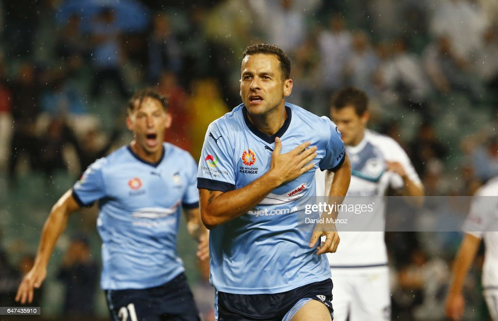 Sydney's Bobo celebrates after scoring during the round 22 A-League match between Sydney FC and Melbourne Victory at Allianz Stadium on March 3, 2017 in Sydney, Australia.