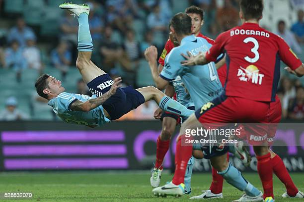 Sydney's Corey Gameiro attempts a bicycle kick during the match against Adelaide at Allianz Stadium Sydney Australia Saturday 8th February 2014