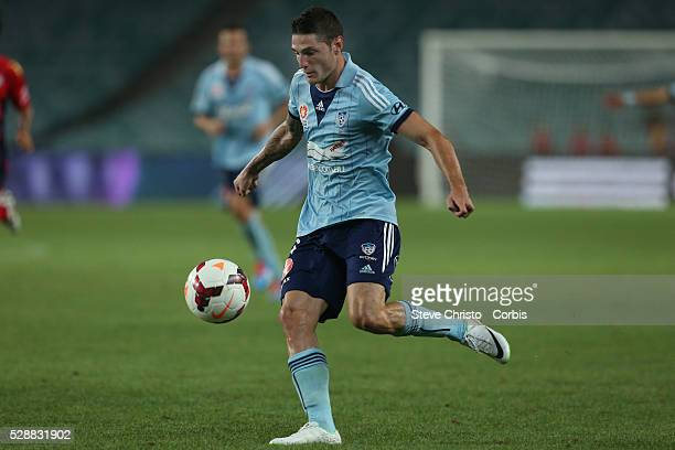 Sydney's Corey Gameiro takes a shot a goal and misses during the match against Adelaide at Allianz Stadium Sydney Australia Saturday 8th February 2014