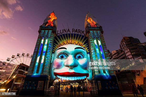 Sydney's iconic Luna Park face is transformed to mark the release of TERMINATOR GENISYS using illumination and special lighting effects on June 26...