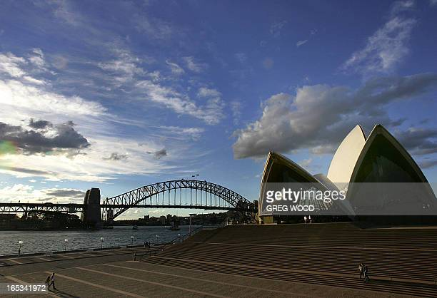 Sydney's iconic Opera House and Harbour Bridge are outlined by a brilliant sunset 12 September 2005 The Opera House due to be nominated for World...