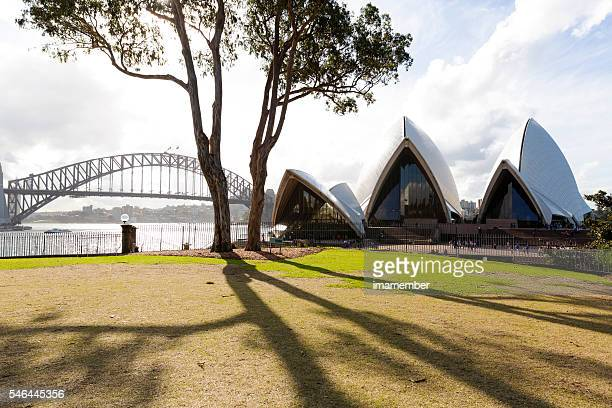 Sydney's Opera House and Harbour Bridge view from Botanical Garden