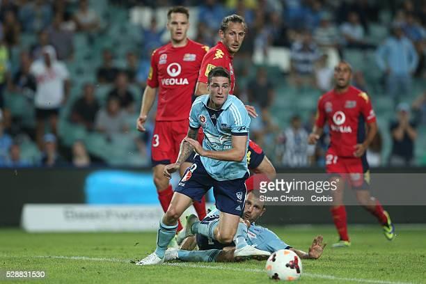 Sydney's Ranko Despotovic and Corey Gameiro clash in front of Adelaides goals during the match at Allianz Stadium Sydney Australia Saturday 8th...