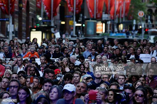 Sydneysiders attend the 'Music for Mercy' concert and vigil at Martin Place on January 29 2015 in Sydney Australia Myuran Sukumaran and Andrew Chan...