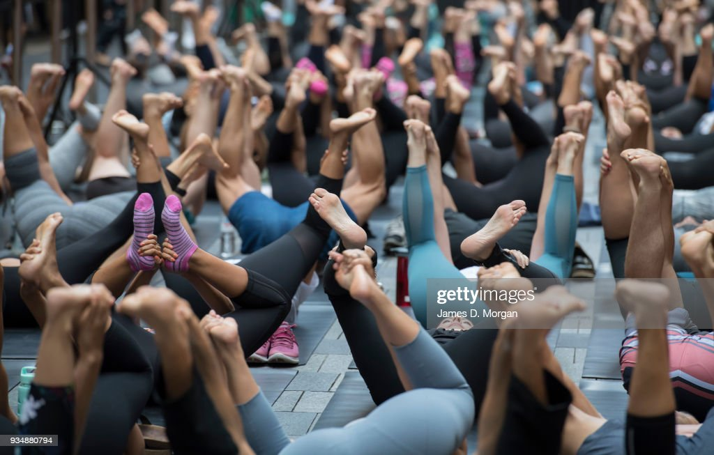 Hundreds Attend Group Yoga Class In Sydney CBD