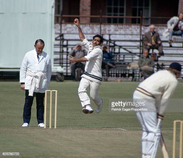 Syed Abid Ali bowling for India during the tour match between Hampshire and Indians at the County Ground Southampton 6th May 1974