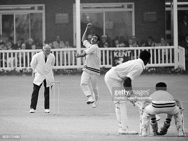 Syed Abid Ali bowling for India during the tour match between Kent and India at the St Lawrence Ground Canterbury 3rd July 1971 The umpire is Tom...