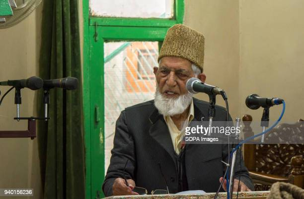 Syed Ali Shah Geelani, senior resistance leader and Former chairman of Tahreek-e-Hurriyat delivers a speech to Kashmiris after he was allowed by the...