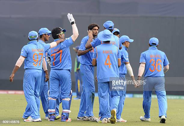Syed Khaleel Ahmed of India the wicket of Wanidu Hasaranga of Sri Lanka during the ICC U19 World Cup SemiFinal match between India and Sri Lanka on...