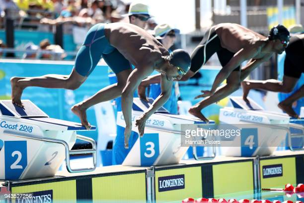 Syed Muhammad Haseeb Tariq of Pakistan competes during the Men's 50m Freestyle Heat 4 on day five of the Gold Coast 2018 Commonwealth Games at Optus...