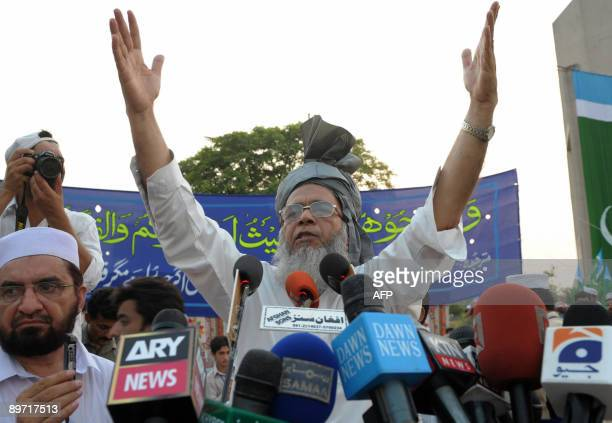 Syed Munawar Hassan Ameer of JamaateIslami addresses an antiUS rally in Peshawar on August 9 against the US interference in their country Pakistan's...