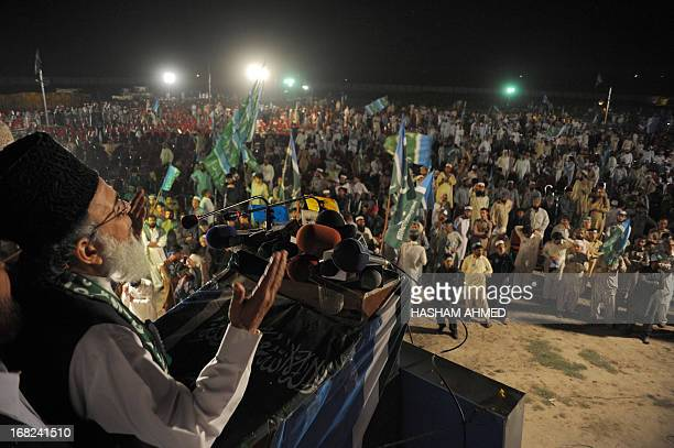 Syed Munawar Hassan chief of JamaateIslami party addresses supporters during an election meeting in Peshawar on May 7 2013 The vast majority of...