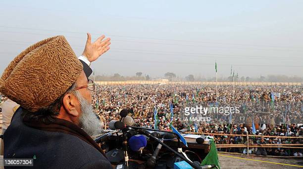 Syed Munawar Hassan Chief of JammateIslami Pakistan addresses a rally in Peshawar on December 18 2011 JI leaders criticised the Pakistani government...