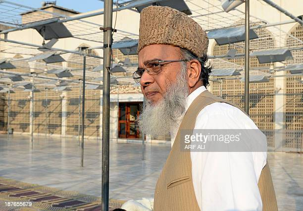 Syed Munawar Hassan chief of Pakistan's Islamic party JamaateIslami arrives at a mosque for prayers after a party meeting on the outskirts of Lahore...