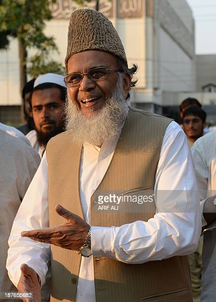 Syed Munawar Hassan chief of Pakistan's Islamic party JamaateIslami gestures as he arrives at a mosque for prayers following a party meeting on the...