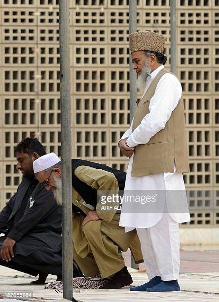 Syed Munawar Hassan chief of Pakistan's Islamic party JamaateIslami offers prayers at a mosque following a party meeting on the outskirts of Lahore...