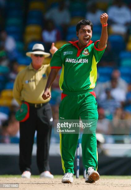 Syed Rasel of Bangladesh celebrates the wicket of Chris Gayle of West Indies during the ICC Cricket World Cup Super Eights match between West Indies...