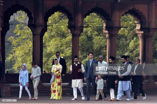 Syed Tariq Bukhari general secretary of the Jama Masjid advisory council shows around Canadian Prime Minister Justin Trudeau Trudeau's wife Sophie...