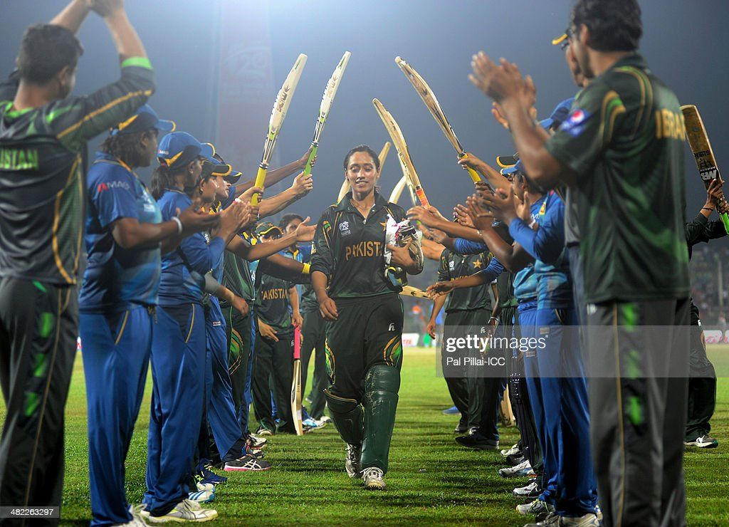 Syeda Batool of Pakistan receives a farewell from her teammates along with the Sri Lankan team as she declares her retirement from all form of cricket after the ICC Women's World Twenty20 7th/8th place ranking match between Sri Lanka Women and Pakistan Women played at Sylhet International Cricket Stadium on April 3, 2014 in Sylhet, Bangladesh.