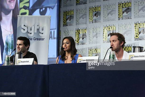 CON_SYFY 'Syfy Panels and Press Conferences at Comic Con on Saturday July 14 2012 in San Diego CA' Pictured Sam Witwer Meaghan Rath Sam Huntington