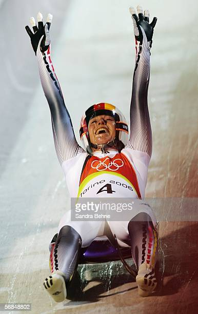 Sylke Otto of Germany celebrates winning the Gold Medal after finishing first in the Womens Luge Single Final on Day 4 of the 2006 Turin Winter...