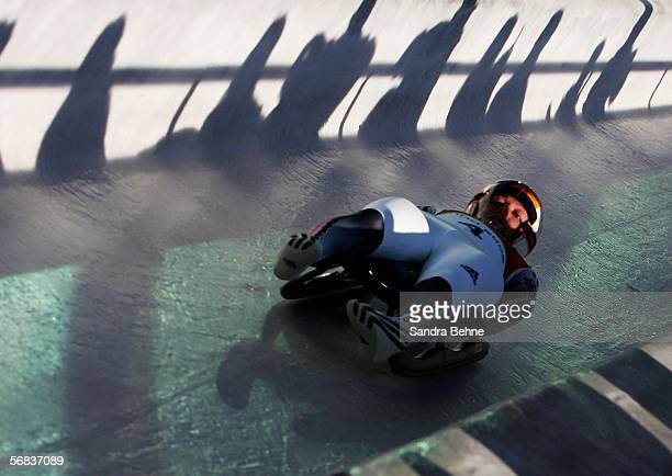 Sylke Otto of Germany competes in the Womens Luge Single event on Day 3 of the 2006 Turin Winter Olympic Games on February 13 2006 in Cesana Pariol...
