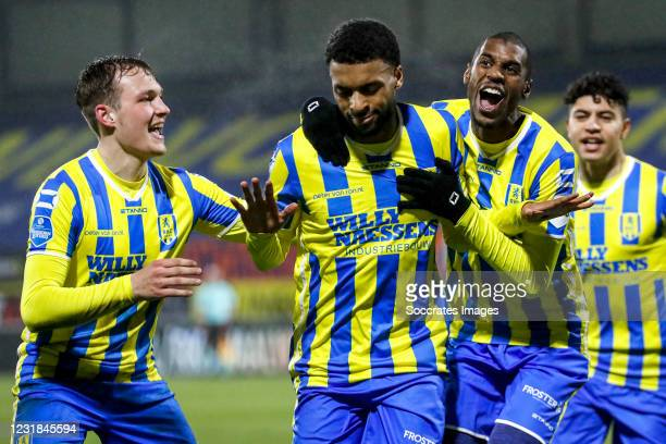 Sylla Sow of RKC Waalwijk celebrates 3-1 with Said Bakari of RKC Waalwijk, Thijs Oosting of RKC Waalwijk, during the Dutch Eredivisie match between...