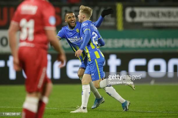 Sylla Sow of RKC Waalwijk, Emil Hansson of RKC Waalwijk, 1-0 during the Dutch Eredivisie match between RKC Waalwijk v VVV-Venlo at the Mandemakers...