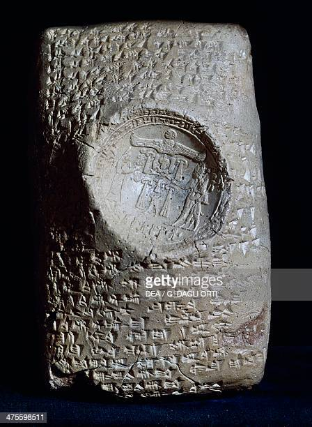 Syllabic Babylonian cuneiform tablet with the seal of the Hittite King Mursil II in the centre showing the king of the land of the city of Hatti...