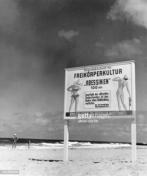 Sylt Eingang zum FKKStrand 'Abessinien' bei Westerland 1950